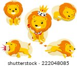 cartoon lion action set  king... | Shutterstock .eps vector #222048085