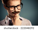 portrait of young boy with fake ... | Shutterstock . vector #222048292