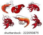 cartoon red shrimp  crab and... | Shutterstock .eps vector #222050875