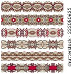 seamless ethnic floral paisley... | Shutterstock .eps vector #222080635