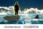 businessman on boat   shark  ... | Shutterstock . vector #222080956