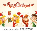 postcard with happy santa... | Shutterstock .eps vector #222107506