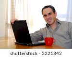 man sitting at a desk and... | Shutterstock . vector #2221342