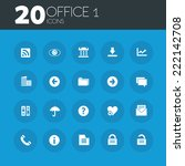 office 1 icons on round blue...