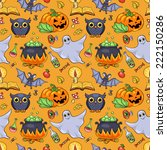 cute cartoon halloween seamless ... | Shutterstock .eps vector #222150286