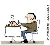 man eating  | Shutterstock .eps vector #222163375