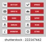 flat red buttons set. vector...