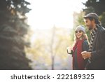 young people walking in autumn | Shutterstock . vector #222189325