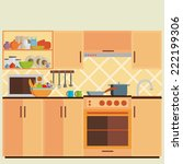 kitchen interior and cooking... | Shutterstock .eps vector #222199306