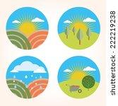 set garden farm scene | Shutterstock .eps vector #222219238