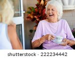 old friends laughing together... | Shutterstock . vector #222234442