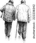 elderly couple on a walk | Shutterstock .eps vector #222238342