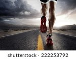 sports background. runner feet... | Shutterstock . vector #222253792