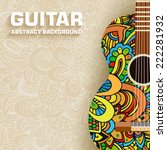 hand drawn art classic guitar... | Shutterstock .eps vector #222281932