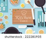flat kitchen table for cooking...   Shutterstock .eps vector #222281935