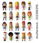set of vector cute character... | Shutterstock .eps vector #222286396