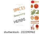 different spices and herbs  on... | Shutterstock . vector #222290962