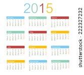 calendar 2015 vector  | Shutterstock .eps vector #222327232