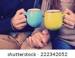young couple drinking tea ... | Shutterstock . vector #222342052