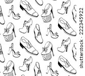 vector shoes seamless pattern.... | Shutterstock .eps vector #222345922