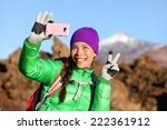 Woman Hiker Taking Selfie Phot...