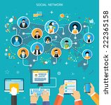 social media network connection ... | Shutterstock . vector #222365158