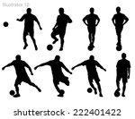 silhouettes of soccer players. | Shutterstock .eps vector #222401422