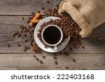 coffee cup with cinnamon sticks ... | Shutterstock . vector #222403168