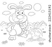 cartoon rabbit farmer with a