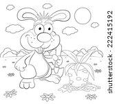 cartoon rabbit farmer with a
