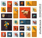 Stock vector set of vector flat design pet shop icons 222421012