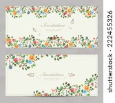 cute floral invitation cards... | Shutterstock .eps vector #222455326