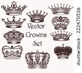 vector set of crowns for your... | Shutterstock .eps vector #222470536