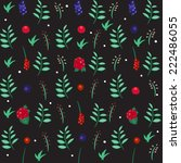 floral seamless pattern. leaves ... | Shutterstock .eps vector #222486055
