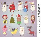 cute christmas set in vector....   Shutterstock .eps vector #222498295