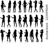black silhouettes of beautiful... | Shutterstock .eps vector #222499045