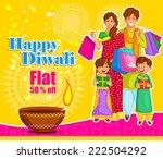 family is celebrating diwali... | Shutterstock .eps vector #222504292