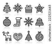 christmas icons with stroke  ... | Shutterstock .eps vector #222521665