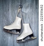 pair of white ice skates and... | Shutterstock . vector #222555652