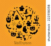 halloween card with halloween... | Shutterstock .eps vector #222558358