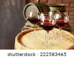 glasses of wine in cellar with... | Shutterstock . vector #222583465
