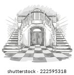 spacious hall and staircase... | Shutterstock .eps vector #222595318