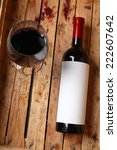 bottle of red wine with a blank ... | Shutterstock . vector #222607642