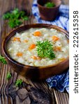 soup with noodles and chicken | Shutterstock . vector #222615358