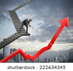 businessman helps with success... | Shutterstock . vector #222634345