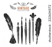 vintage retro old nib pen brush ... | Shutterstock .eps vector #222634372