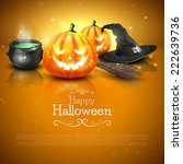 modern halloween greeting card... | Shutterstock .eps vector #222639736
