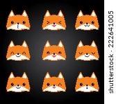 cute foxes pixel emoticons set. ... | Shutterstock .eps vector #222641005