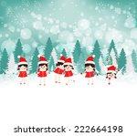 baby girls on winter forest... | Shutterstock .eps vector #222664198