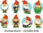 garden gnome cartoon set of... | Shutterstock .eps vector #222681358